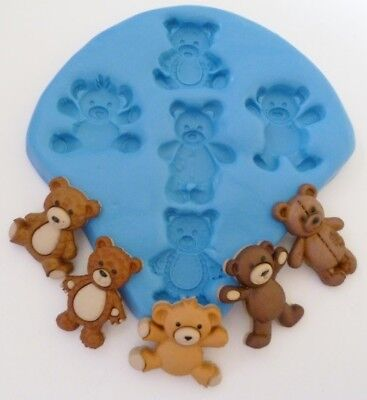 Teddy Bears Silicone Mould For Cake Toppers, Chocolate, Clay Etc • 6.99£
