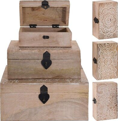 Distressed Carved Wooden Chests Jewellery Box Treasure Chest Trinket Box 4 Sizes • 15.99£