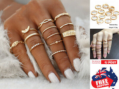 AU8.95 • Buy 12pcs Rose Gold Women's Boho Midi Finger Rings Set Stack Above Knuckle Jewelry