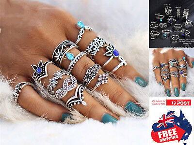 AU8.95 • Buy 12pcs Retro Flower Women's Boho Midi Finger Ring Set Stack Above Knuckle Jewelry