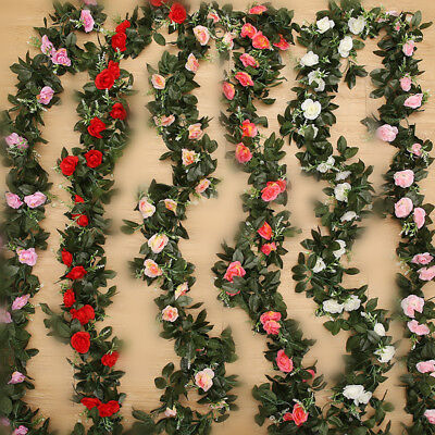 £3.99 • Buy 2.5m Artificial Flower Silk Rose Leaf Garland Vine Ivy Home Wedding Garden Deor