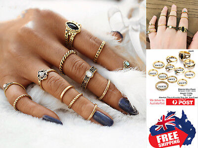 AU7.95 • Buy 12pcs Vintage Style Women Boho Midi Finger Rings Set Stack Above Knuckle Jewelry
