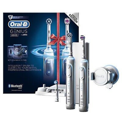 View Details 2 X Braun Oral-B GENIUS 8900 Electric Rechargeable Power Toothbrush Bundle Pack • 120.99£