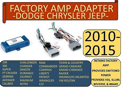 $79.99 • Buy Factory Amp Adapter For 2005-2015 Selected Ram Jeep Chrysler Dodge Vehicles