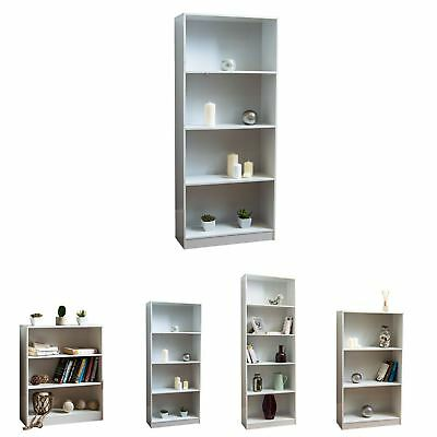 Cambridge Bookcase Display Shelving Storage Unit Stand Wooden Shelves White • 24.95£