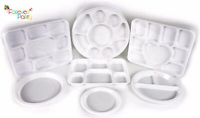 £12.95 • Buy Plastic Plates Round Square Compartment Disposable Trays Thali Christmas Party