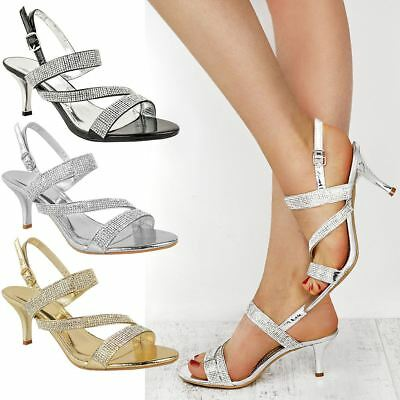 £17.99 • Buy Womens Diamante Wedding Sandals Mid Heel Prom Bridal Comfy Glitter Shoes Size