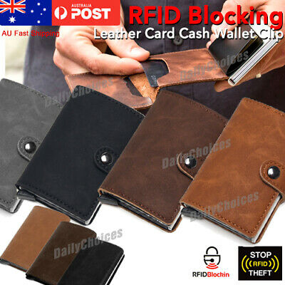 AU11.84 • Buy Leather Credit Card Holder Money Cash Wallet Clip RFID Blocking Purse AU