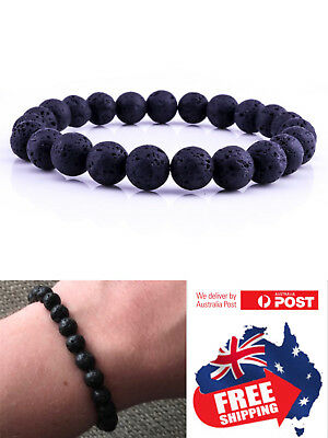 AU4.95 • Buy New 8mm Natural Oil Diffuser Chakra Black Lava Bracelet Natural Healing Bead 1pc