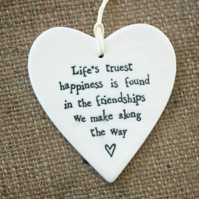 East Of India Porcelain Heart - Life's Truest Happiness Friend - Gift • 5.95£