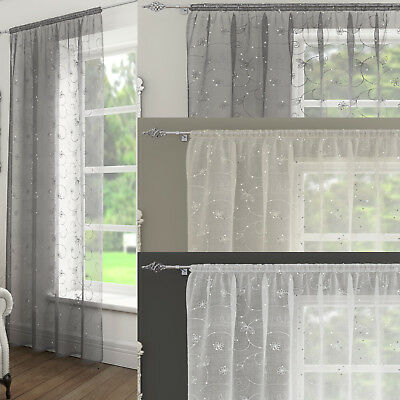 £10.99 • Buy ARIANA Embroidered Sequin Voile Net Curtain Ready Made Slot Top Single Panel
