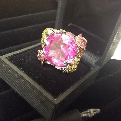$89 • Buy Charles Winston Pave Ring Garden Frog Floral Large Pink CZ's 925 SS 6 1/2 NEW