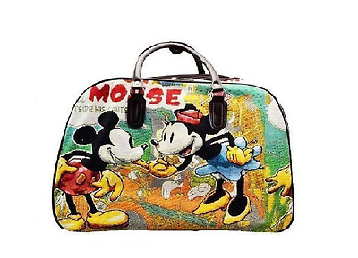 Mickey Mouse Holdall Vintage Trolley Bag.Travel Medium Size Hand Luggage • 19.99£