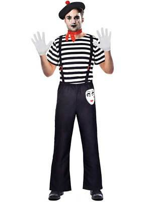 £12.89 • Buy Adult Male Mr Mime Artist Costume Mens Fancy Dress French Circus Street Carnival