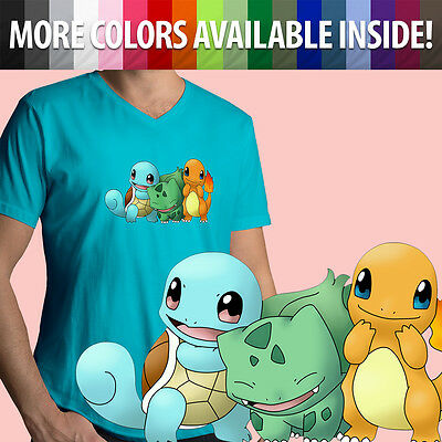 344d4fb4 Starter Pokemon Charmander Squirtle Bulbasaur Mens Unisex Top Tee V-Neck T-Shirt  •