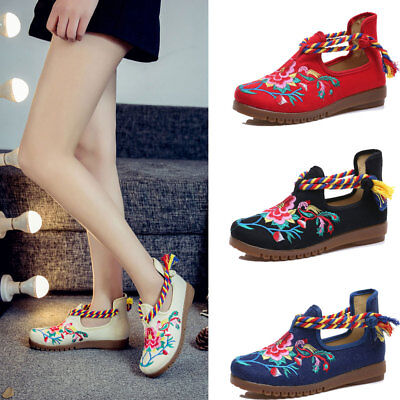 £18.99 • Buy Women Chinese Embroidered Flower Flat Shoes Bridal Mary Jane Ballet Sandals 2017