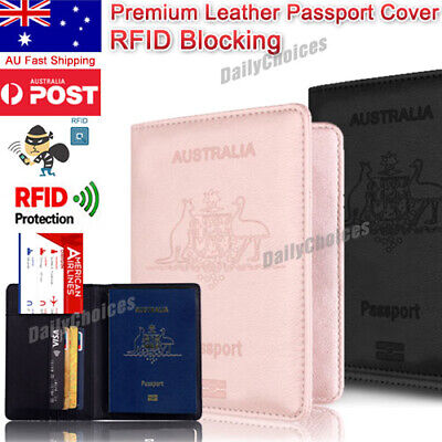 AU8.84 • Buy Slim Leather Travel Passport Wallet Holder RFID Blocking ID Card Case Cover AU