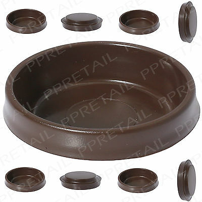 8 X BROWN CASTOR CUPS Chair/Sofa/Table Furniture Protectors Carpet/Floor LARGE • 4.06£