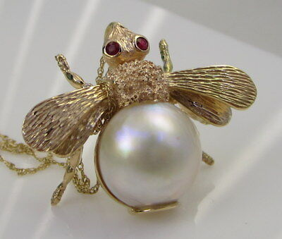 $1499 • Buy Estate Vintage Gorgeous Large 14k Yellow Gold Red Ruby Bee Mabe Pearl Necklace