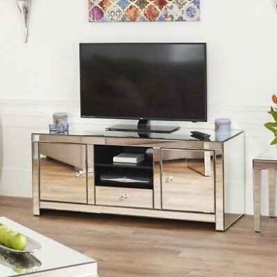 Venetian Mirrored Widescreen TV Unit - Up To 60inch - Media Storage Cabinet TFM7 • 329£