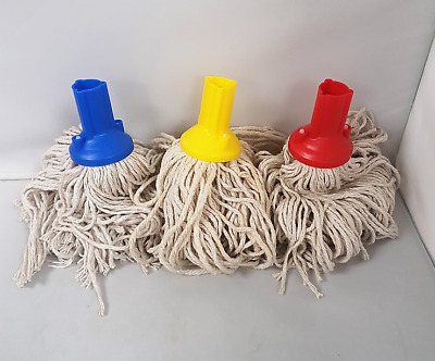 £9 • Buy 3 Colour Coded Exel Socket Absorbent Cotton Yarn Mop Head Push & Screw Handle