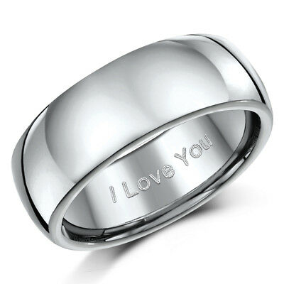 Titanium Wedding Engagement Ring Engraved ''I Love You'' 8mm Band Mens/Ladies  • 17.95£