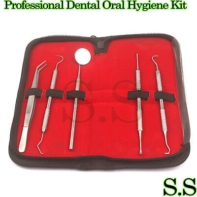 Professional Dental Oral Hygiene Kit 5 Tools Deep Cleaning Scaler Teeth Care Set • 7.44$