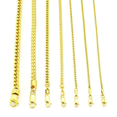 $145.69 • Buy 10K Yellow Gold 1.5mm-6mm Square Wheat Box Franco Chain Pendant Necklace 16 -40