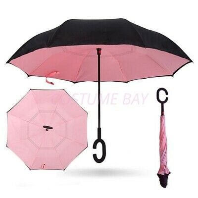AU22.45 • Buy Windproof Upside Down Reverse Umbrella C-Handle Double Layer Inside-Out Inverted
