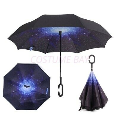 AU35.95 • Buy Windproof Upside Down Reverse Umbrella C-Handle Double Layer Inside-Out Inverted