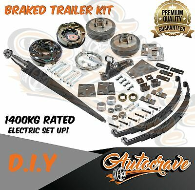 AU695 • Buy Trailer Kit Diy Electric Braked Axle 1400kg Square Axle Eye & Eye Spring Boat