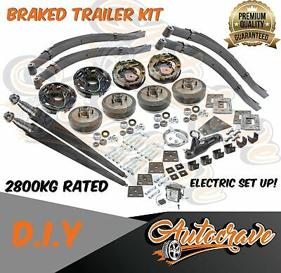 AU1159.95 • Buy Tandem Trailer Kit Diy Dual Electric Braked Axle 2800kg Square Axle Slipper Set