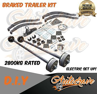 AU1239.95 • Buy Tandem Trailer Kit Diy Dual Electric Braked Axle 2800kg Square Axle Assembled