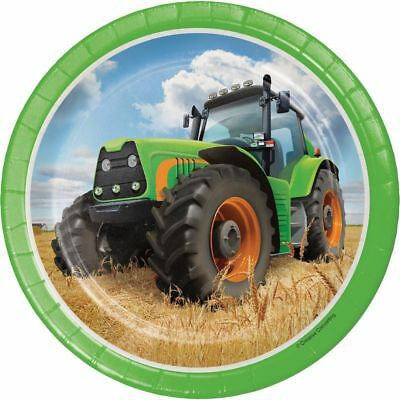 AU6.28 • Buy 8 X Tractor Time 7  Paper Plates Boys Birthday Party Tableware Supplies Farm