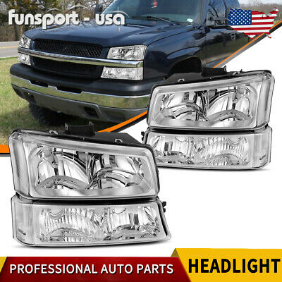 $70.23 • Buy 4pcs For 2003-2006 Chevy Silverado Chrome Housing Clear Side Headlight/lamp Set