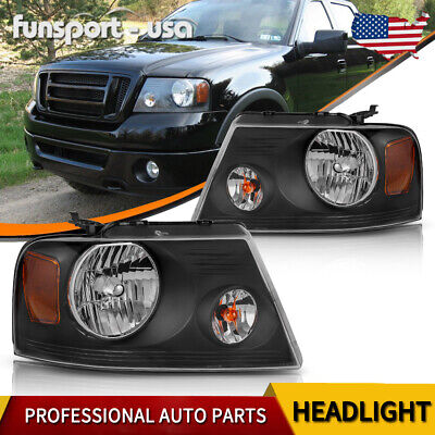 $69.63 • Buy Headlights For 2004-2008 Ford F-150 F150 Pickup Black Housing Amber Corner Pair
