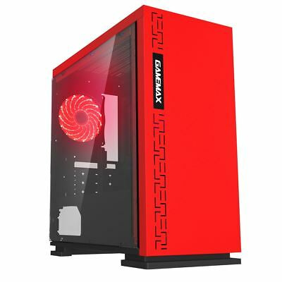 Game Max Expedition Red Gaming Matx PC Case Rear LED Fan Clear Side Window • 36.70£
