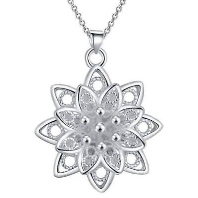 $ CDN24 • Buy Large Sacred Lotus Flower Silver Necklace