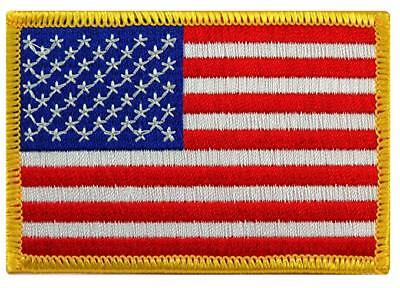 Gold Outline Usa United States Of America Flag Iron Sew On Jeans Clothes Patch • 2.25£