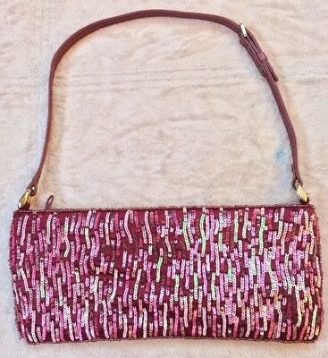 Chan Luu Small Evening Bag, Pink, Mauve, Beaded, Sparkly, Draw String Tie • 42.91£