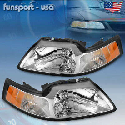 $62.51 • Buy For 99-04 Ford Mustang Chrome Housing Driving Headlights+Corner Turn Signal Lamp