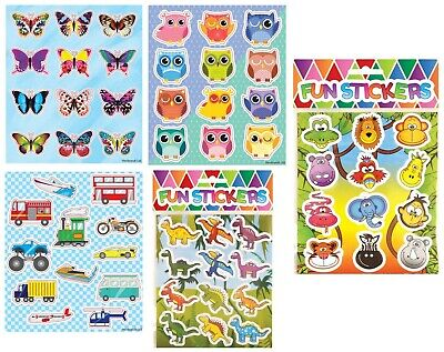 12pc Childrens Party Bag Stickers Sticker Sheets Kids Fillers - 6 Designs  • 1.33£