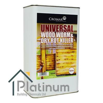 Cromar Universal Woodworm & Dry Rot Killer 5L   Solvent Based Wood Treatment • 29.75£