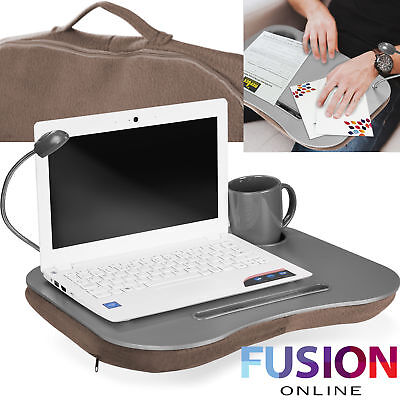 View Details Laptop Lap Tray Breakfast Cushioned Led Light Soft Padded Portable Desk Notebook • 8.49£