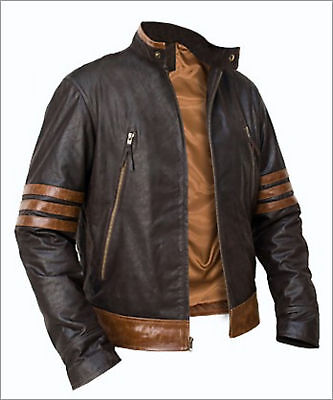 X-Men Wolverine Origins Bomber Style Brown Real Leather Jacket Size S M L XL 2XL • 75.10£