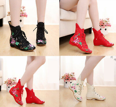 £13.97 • Buy Womens Casual Chinese Embroidered Floral Boots Dance High-tops Flat Cloth Shoes