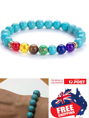 AU5.95 • Buy New 7 Chakra Stone Bead Turquoise Bracelet Men Women Natural Balance Healing 1pc