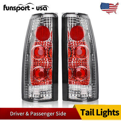 $37.86 • Buy Tail Lights For 1988-1998 Chevy GMC C/K 1500 2500 3500 Chrome Clear Rear Lamps