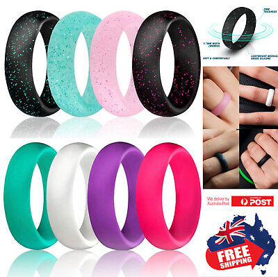 AU3.95 • Buy Silicone Rubber Ring 5.5 Width Band Flexible Comfortable Safe Work Sport Gym 1pc