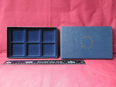 Coin Display Box, Navy Cardboard Outer + Navy Plush Interior - 6 Compartments • 9.99£